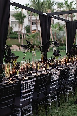 The Skinny Confidential - <p>One and Only Palmilla<br /> Cabo San Lucas, MX</p>  <p>Oozing of gothic glam this dramatic wedding was the antithesis of bridal which is exactly what Lauryn of The Skinny Confidential and her fiancé Michael insisted on for her ride or die family and friends.</p>