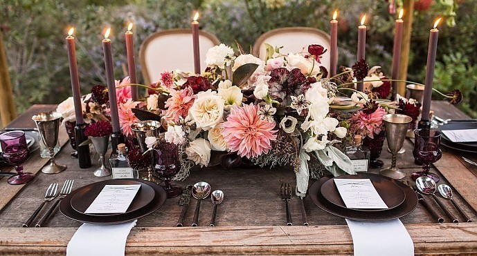 Dinner Party - <p>Shady Canyon<br /> Irvine, CA</p>  <p>An everyday affair made unforgettable. Darkly romantic colors and tones intermingle with a draped canopy overhead, creating an oasis under the stars.</p>